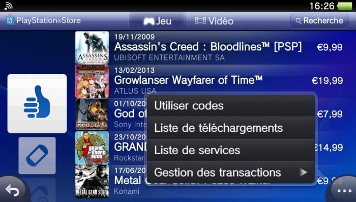 Liste de téléchargements PlayStation Store PS Vita