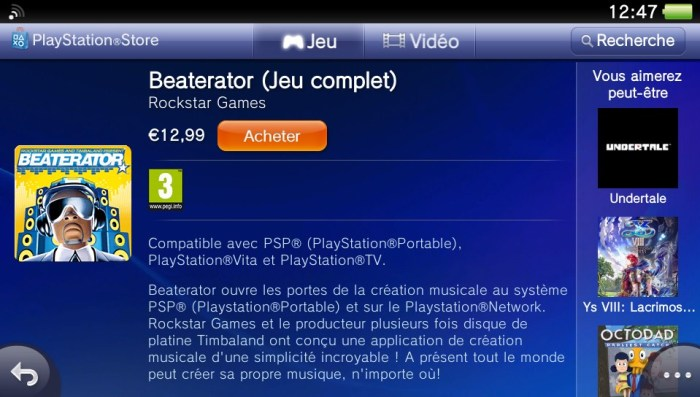 Beaterator sur le PlayStation Store