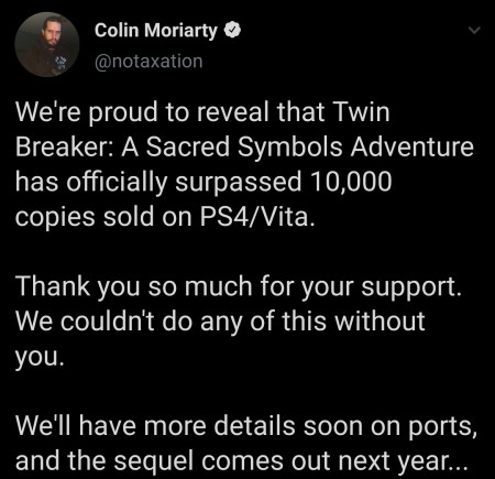Twin Breaker s'est vendu à plus de 10 000 exemplaires sur PlayStation 4 et PS Vita