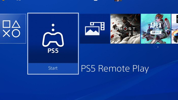 Icône remote play PS5 sur la console PS4