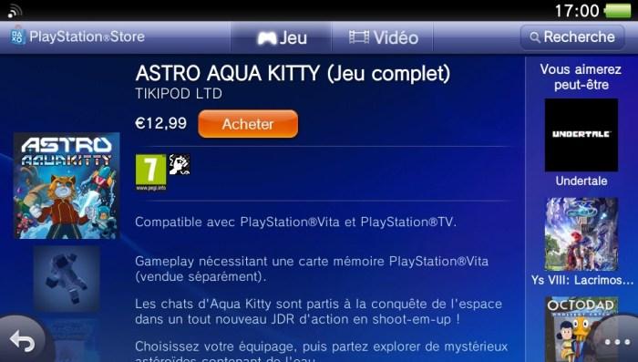 Astro Aqua Kitty PlayStation Store PS Vita