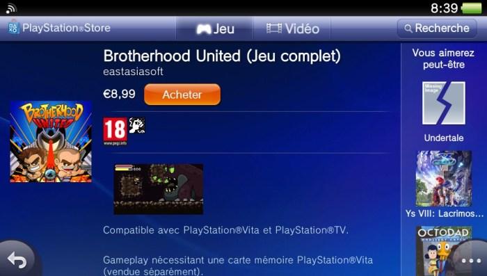 Brotherhood United PlayStation Store PS Vita