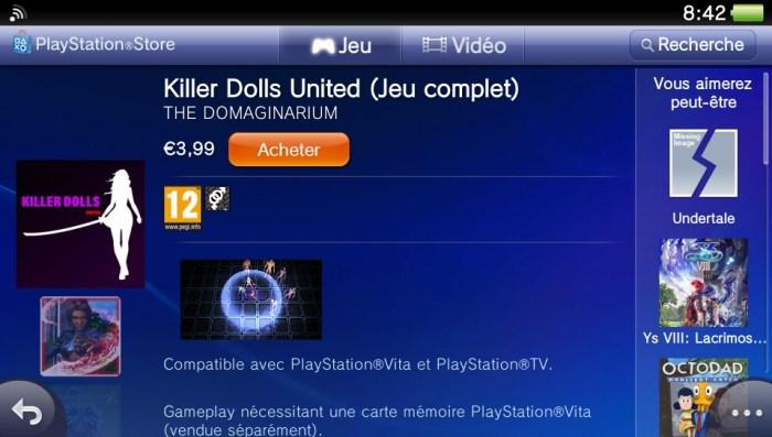 Killer Dolls United PlayStation Store PS Vita