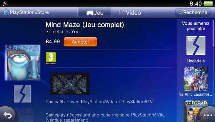 Mind Maze PlayStation Store PS Vita