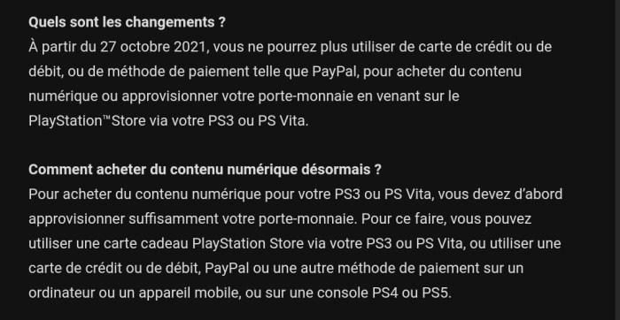 Paiements PlayStation Store PS Vita PS3