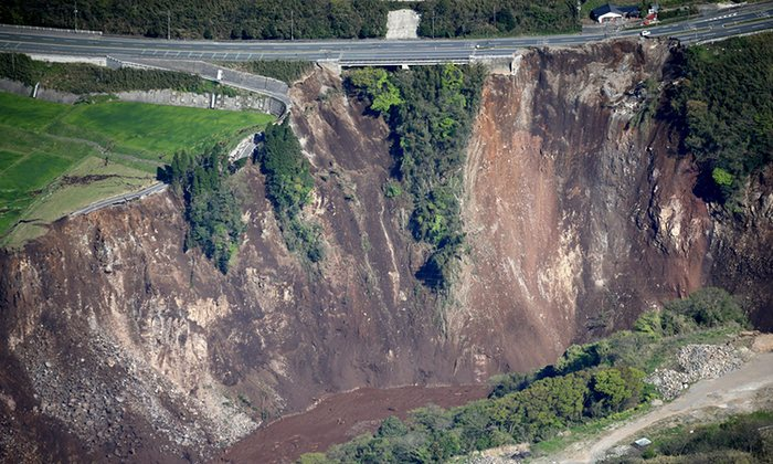 A landslide in Minamiaso Photograph: AP - The Guardian - http://www.theguardian.com/world/gallery/2016/apr/16/earthquake-on-kyushu-island-japan-in-pictures