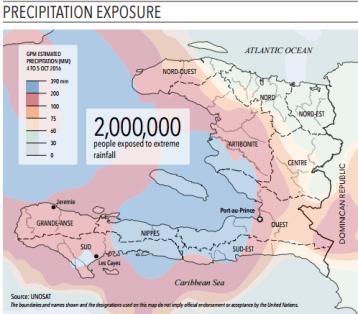 """Haïti : régions les plus affectées par les précipitations de l'ouragan Matthew Source : UNOSAT, Appel d'urgence (""""Flash Appeal"""") 10 octobre"""
