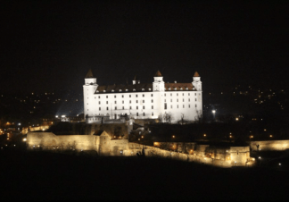Figure 5a: View of Bratislava Castle from the UFO Bridge viewing station
