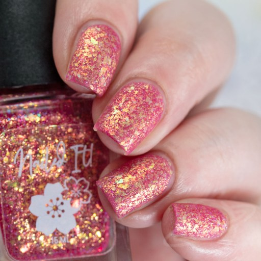 4 finger swatch of Nailed It Nail Polish Sweet Pea one of four polishes in the Candygram Collection Matte