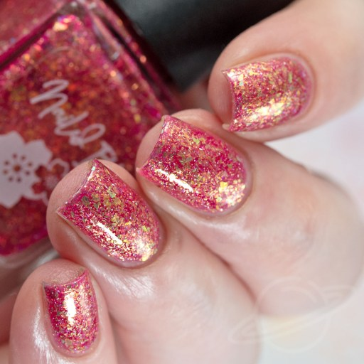 4 finger swatch of Nailed It Nail Polish Sweet Pea one of four polishes in the Candygram Collection