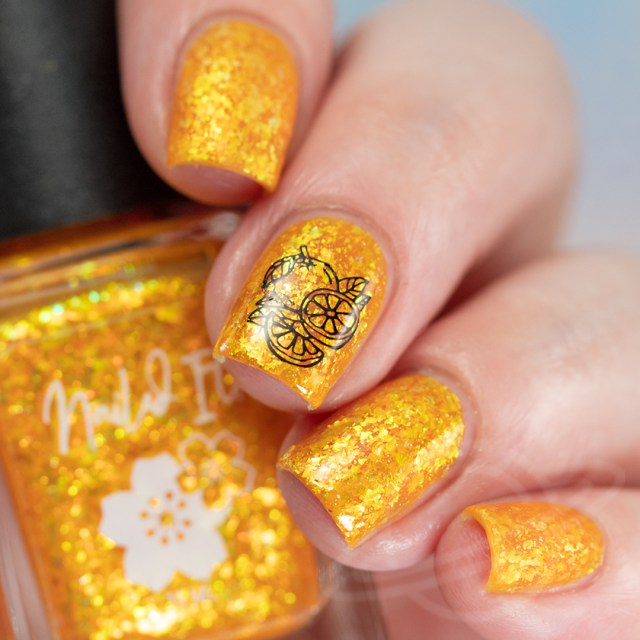 This image features a four finger swatch with the nail polish Strawberried Orange You Glad - An orange jelly base packed with gold/copper/green crystal flakes, and a touch of holo flakies from Nailed It! Nail Polish new collection Taste the Rainbow