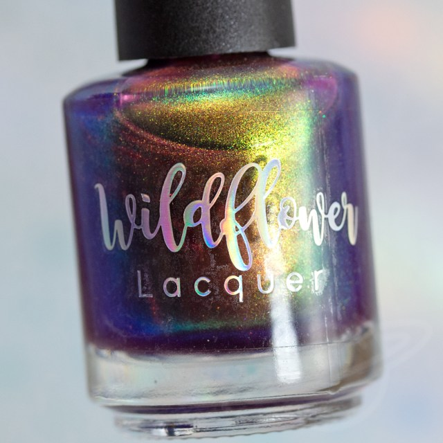 Pictured here is a nail polish by Wildflower Lacquer. This multichrome pink base with shifting green to red polish is named Is That An Ascot inspired by Supernatural. A part of The Very Supernatural Collab