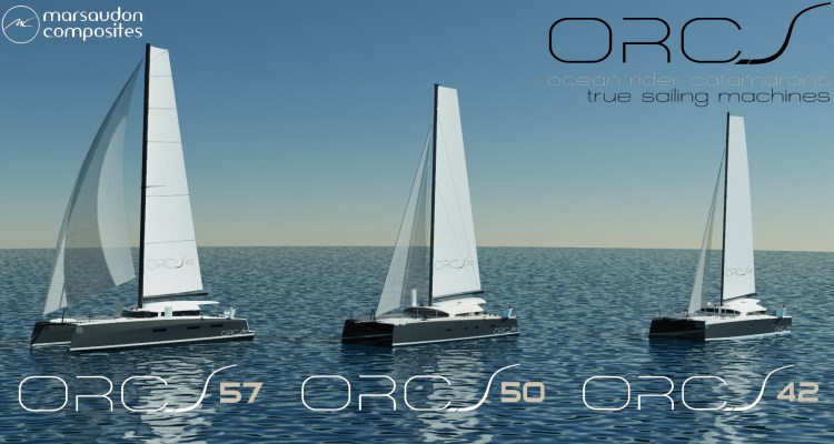 Banner image of the range of the ORC catamarans - shows the ORC 57, 50 and 42
