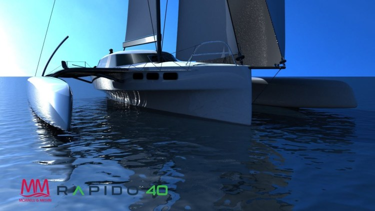 Rapido 40 rendered drawing of the bows looking aft