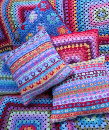 Fair Isle and crochet cushions