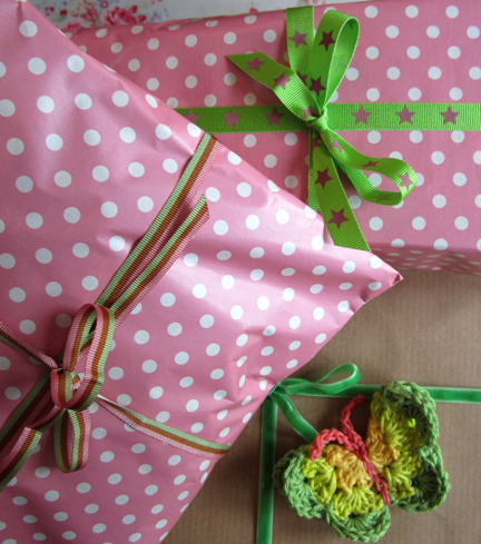crochet butterflies on gift wrap