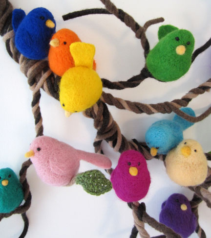 A wool branch of needlefelt birds