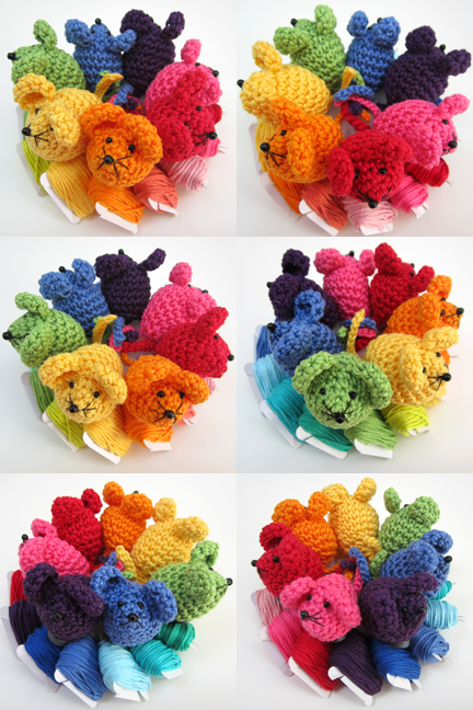 groups of crochet Mini Mice