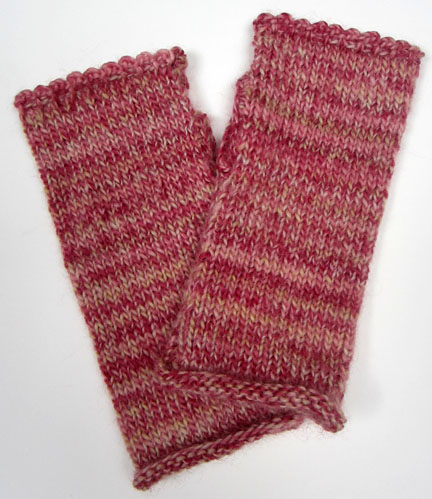 Simple plain Wrist warmers knitted from Planet Penny Pattern