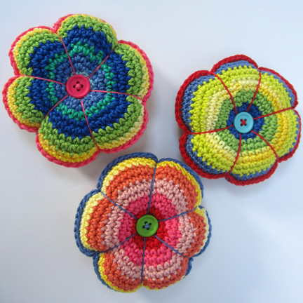 crochet pincushions made in Planet Penny Cotton Club yarn