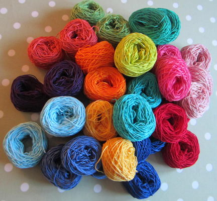 cotton yarn in Planet Penny rainbow colours