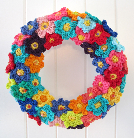 ring of crochet flowers