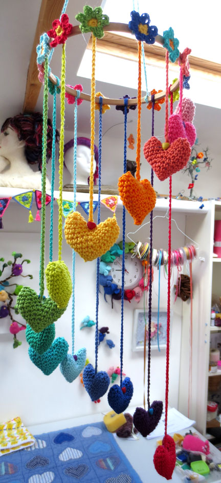 Hearts and Flowers Mobile in studio