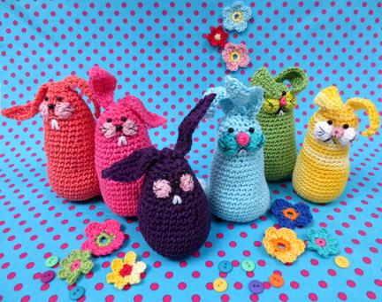 colourful crochet bunnies