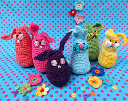 colourful crochet bunnies