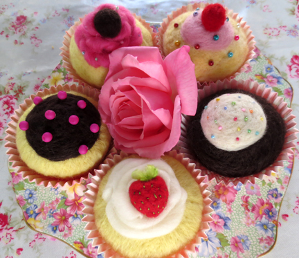 Planet Penny Bakery - needlefelt cupcakes