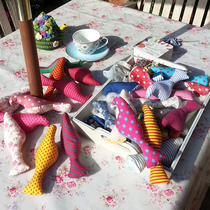 sewing in the garden