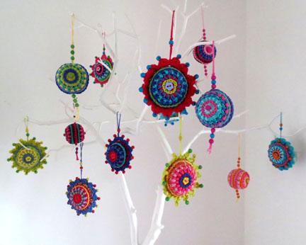 crochet balls on branch