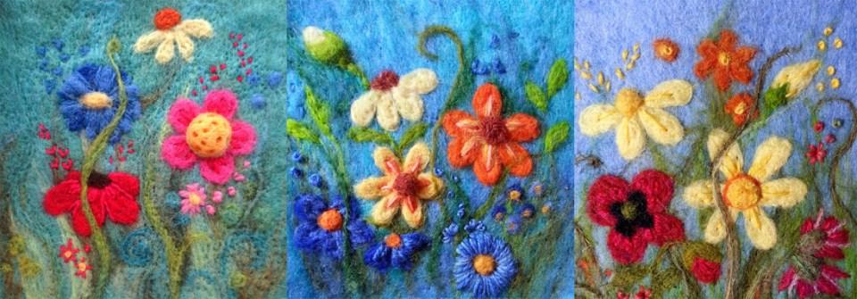 needlefelt felt flowers for workshop