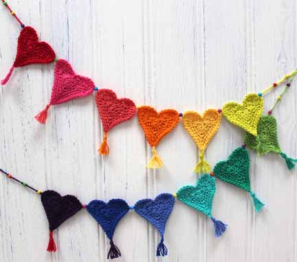 Crochet Heat Bunting made from Planet Penny Cotton Colours