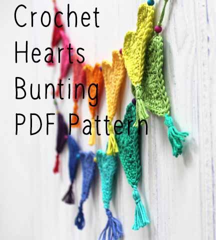 Crochet Heart Bunting free PDF pattern