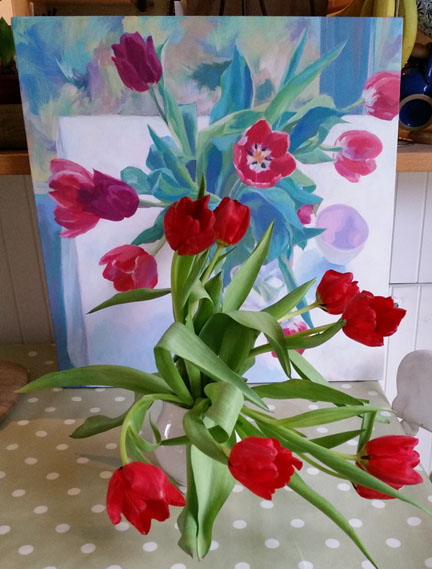 tulips and painting for Happy Friday