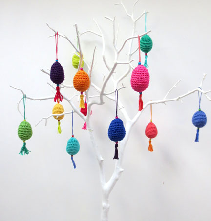 tree full of crochet eggs