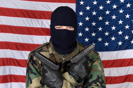 American man with guns