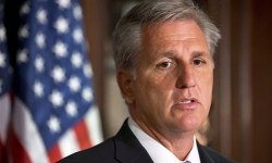 House Majority Whip Kevin McCarthy of Calif., speaks about the Boston Marathon explosions during House Republican Leadership news conference on Capitol Hill in Washington, Tuesday, April 16, 2013. (AP Photo/Jacquelyn Martin)