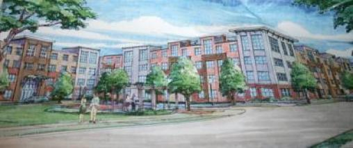 Rendering of new apartments slated for the hospital site on Witherspoon Street.