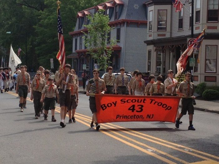 Boy Scout Troop 43 of Princeton marches in the Spirit of Princeton's Memorial Day Parade. File photo by Louise Forman.