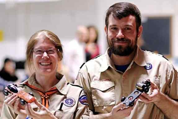 Adult Fun - This year's event even featured an adult competition. Gearing up their inner child were Pack 43 Cubmaster Bill French and Troop 43 asst. scoutmaster Adrienne Rubin, who raced their own creations.