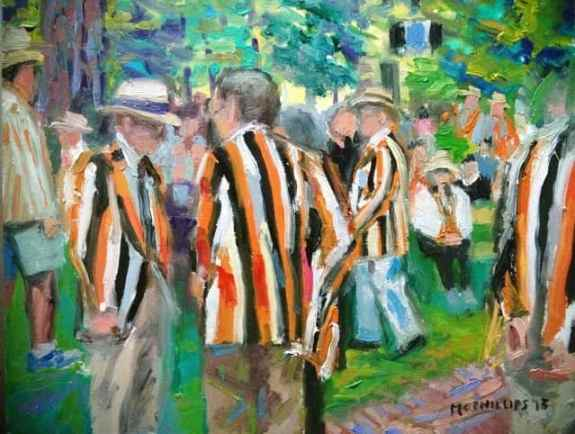 Reunion Jackets painting by James McPhillips on display at Small World's Nassau St. shop until March 5.