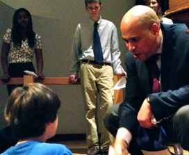 Booker visiting students in Princeton earlier this year.