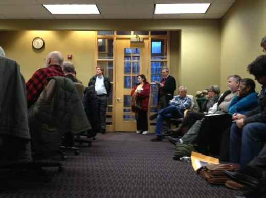 Area residents packed a meeting about the new Route 1 jughandle proposal Monday night.
