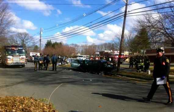 The scene of the three-car crash in front of Riverside Elementary School this morning. Photo by Lynn Irving.