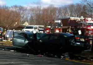 The scene in front of Riverside Elementary after the crash last Thursday. Photo by Lynn Irving.