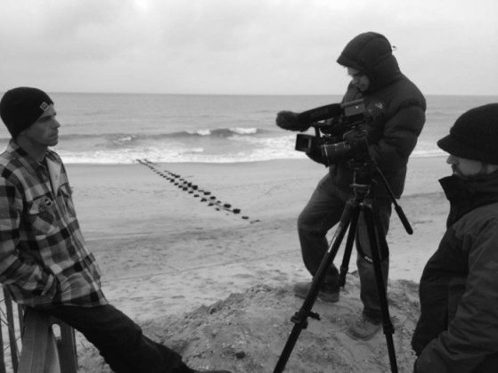 "Pro surfer Randy Townsend is interviewed for the documentary ""Landfall: Through the Eyes of Sandy."""