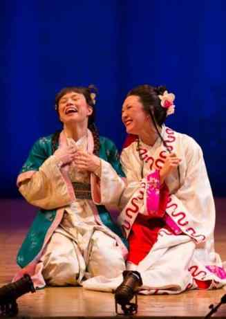 (l-r) Tanya Thai McBride and Amy Kim Waschke in The White Snake. Photo: T. Charles Erickson