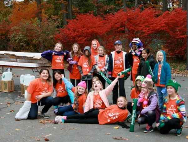 Girls on the Run at their water station. Photo courtesy of Stella Rho.